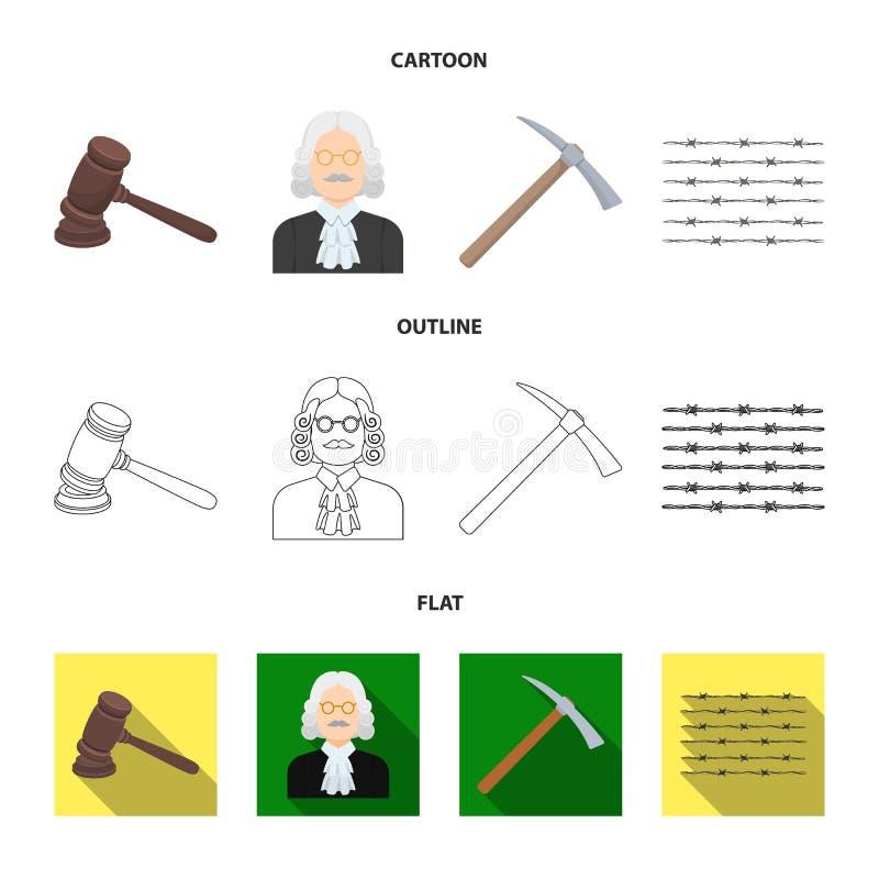 Sądzi, drewniany młot, drut kolczasty, oskard Więzienie ustalone inkasowe ikony w kreskówce, kontur, mieszkanie stylowy wektorowy ilustracji