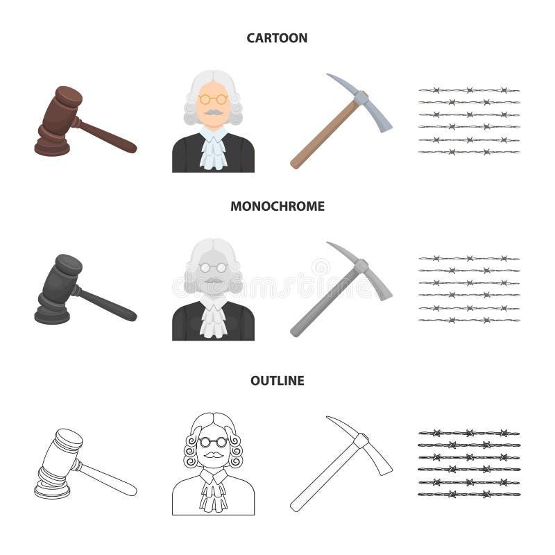 Sądzi, drewniany młot, drut kolczasty, oskard Więzienie ustalone inkasowe ikony w kreskówce, kontur, monochromu stylowy wektor ilustracji