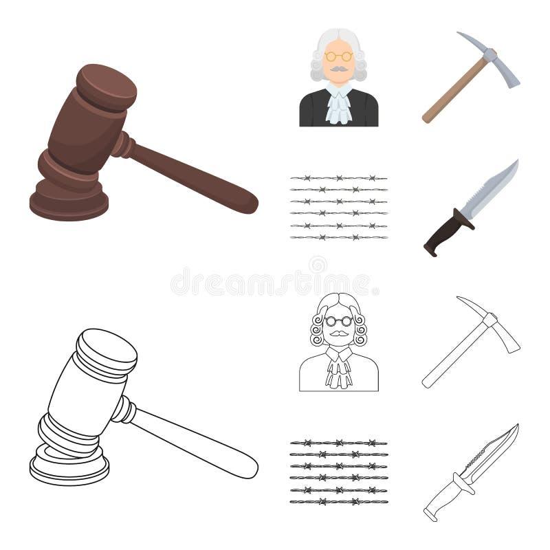 Sądzi, drewniany młot, drut kolczasty, oskard Więzienie ustalone inkasowe ikony w kreskówce, konturu symbolu stylowy wektorowy za ilustracji
