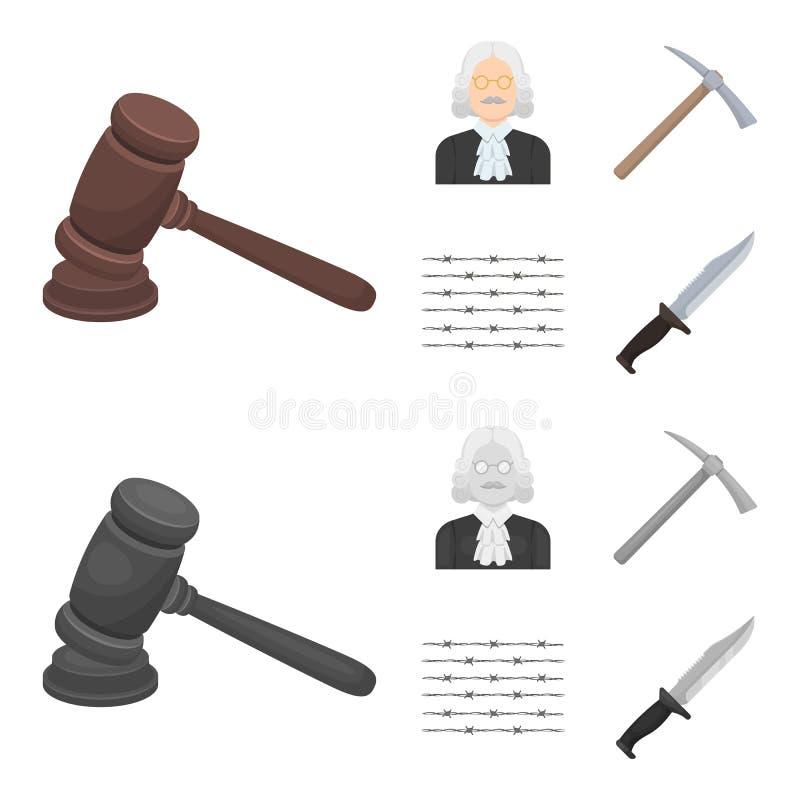 Sądzi, drewniany młot, drut kolczasty, oskard Więzienie ustalone inkasowe ikony w kreskówce, monochromu symbolu stylowy wektorowy royalty ilustracja