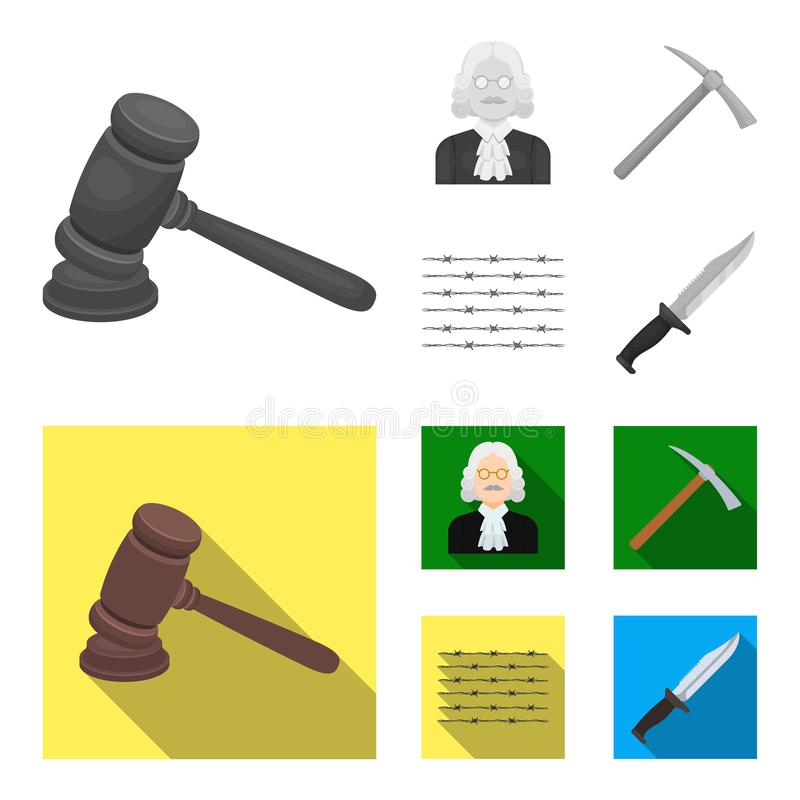 Sądzi, drewniany młot, drut kolczasty, oskard Więzienie ustalone inkasowe ikony w monochromu, mieszkanie symbolu stylowy wektorow ilustracji