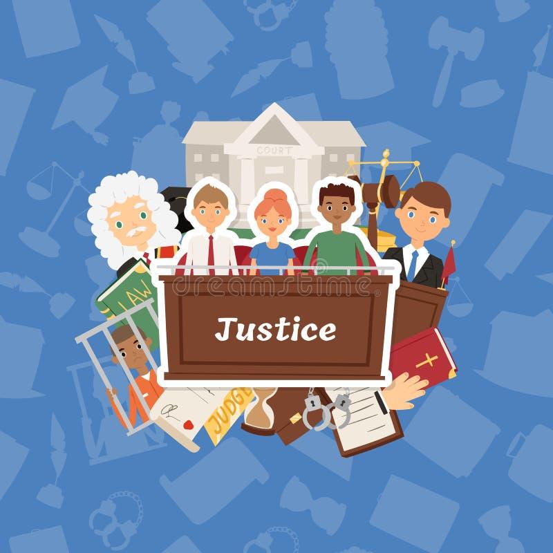 Sądzi wektorowego sprawiedliwości prawa sądu i legalnego osądzenia ludzie charakteru kryminalnego charakteru w więźniarskiej tło  ilustracji