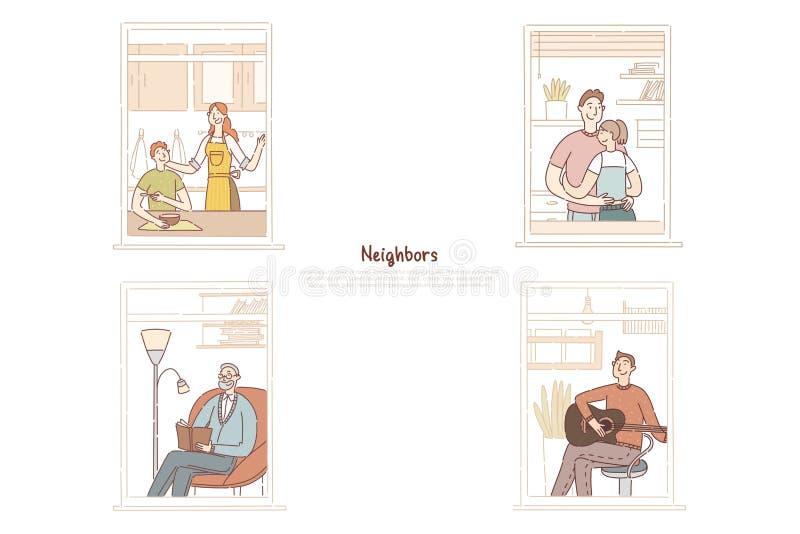 Sąsiad w mieszkań okno, pary małżeńskiej przytulenie, starszego mężczyzny czytelnicza książka, młody facet bawić się gitara sztan royalty ilustracja