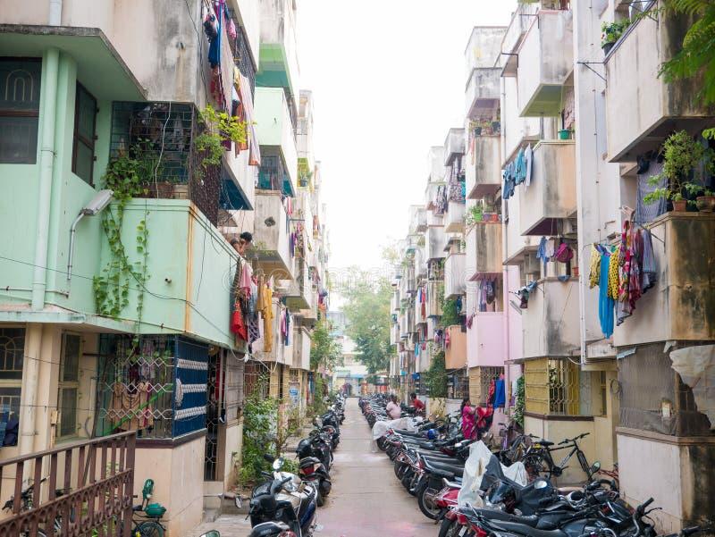 Sąsiedztwa życie w małej ulicie w Chennai zdjęcie stock
