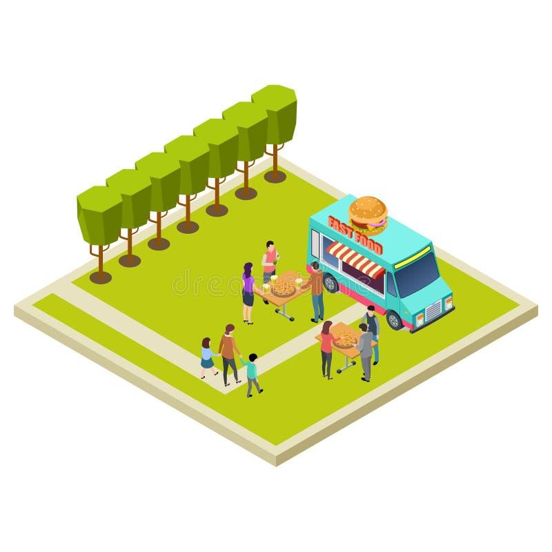 Sąsiedztwa przyjęcie w parku z hamburger isometric wektorową lokacją royalty ilustracja