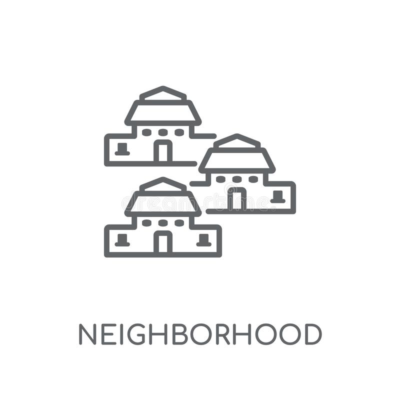Sąsiedztwo liniowa ikona Nowożytny konturu sąsiedztwa logo conce ilustracja wektor