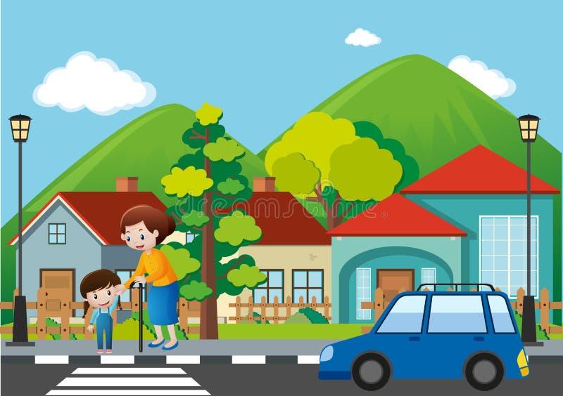 Sąsiedztwo scena z ludźmi krzyżuje drogę ilustracja wektor
