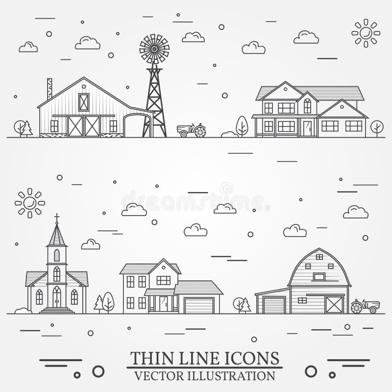 Sąsiedztwo z budynkami ilustrującymi na bielu ilustracji