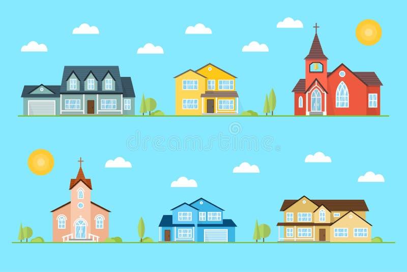Sąsiedztwo z stwarza ognisko domowe i kościół ilustrujący na błękitnym tle ilustracja wektor