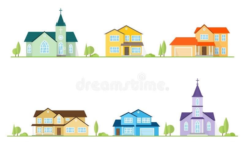 Sąsiedztwo z stwarza ognisko domowe i kościół ilustrujący na bielu ilustracji