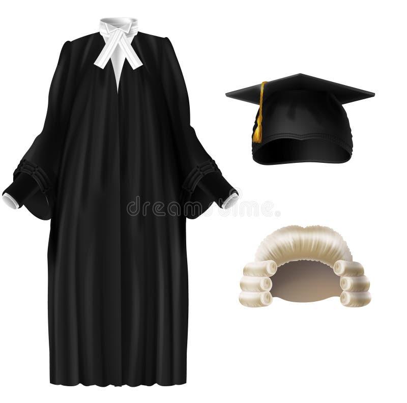 Sędzia i naukowiec ubiera realistycznego wektoru set ilustracja wektor
