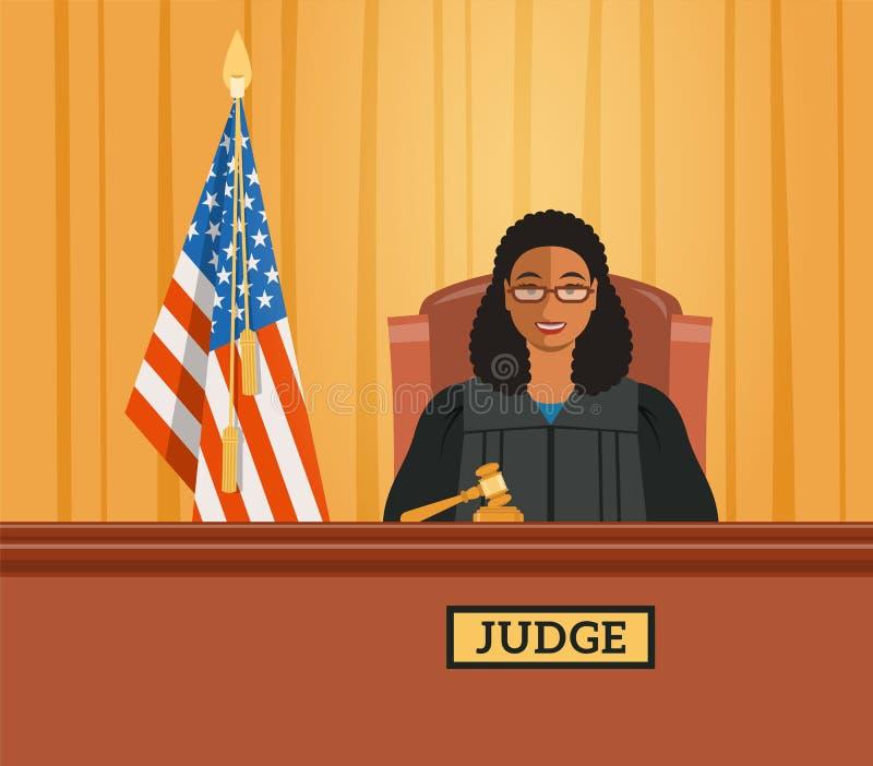 Sędzia murzynka w sala sądowej wektorowej płaskiej ilustraci ilustracji