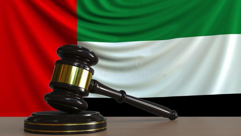 Sędziego blok przeciw fladze Zjednoczone Emiraty Arabskie i młoteczek UAE dworski konceptualny 3D rendering royalty ilustracja