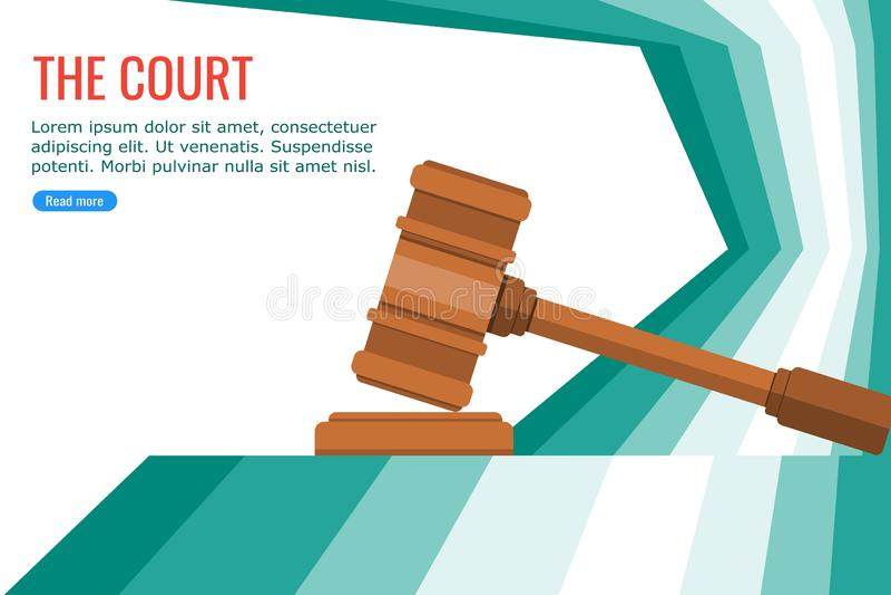 Sędziego młot na sądzie ilustracja wektor