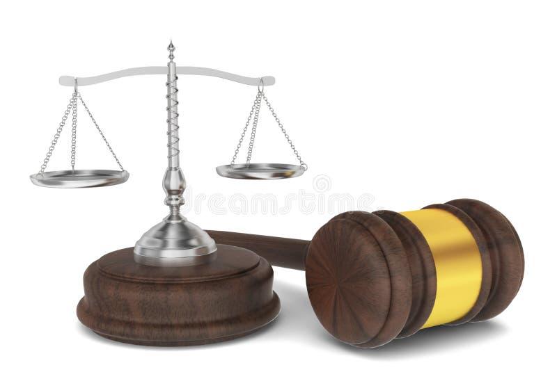 Sędziego młot z waży, prawa pojęcie ilustracji