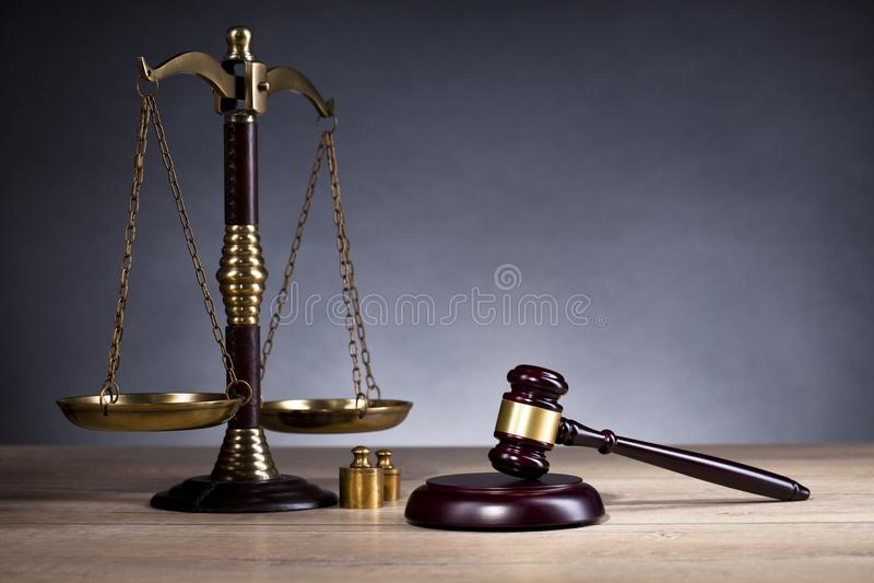 Sędziego ` s młoteczek prawo Sędziego ` s biuro Legalna decyzja obrazy stock
