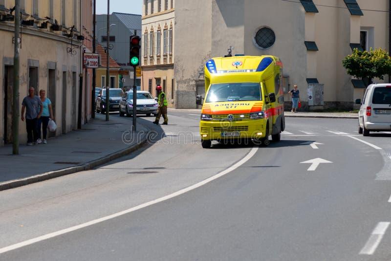 Słóżba Ratownicza pracownicy trenują w wspólnym działaniu z ratownikami, palaczami, policją i czerwonym krzyżem w Slovenska Bistr zdjęcia royalty free