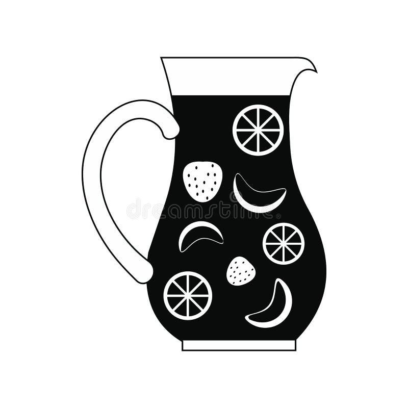 Słój i szkło świeża sangria ikona, prosty styl ilustracji