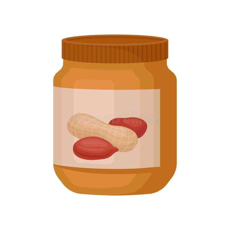 Słój masło orzechowe wektorowa ilustracja na białym tle ilustracji