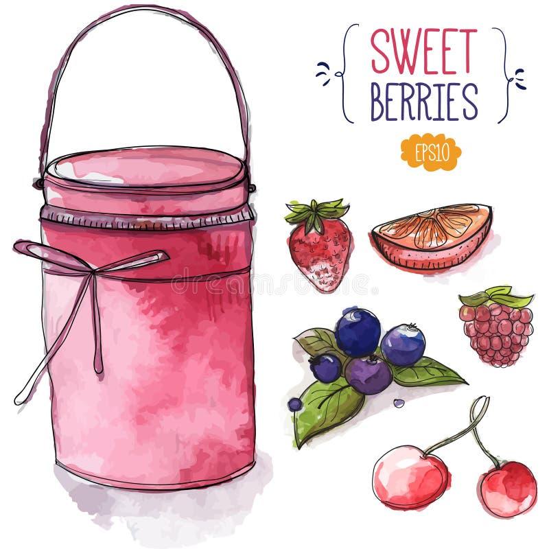 Słój menchii jagody i dżem truskawka, czernica z liśćmi, wiśnia, malinka i pomarańczowy plasterek, ilustracji