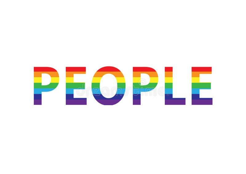 Słów ludzie w tęczy barwią, lgbt simbol, horyzontalna wektorowa ilustracja odizolowywająca na białym tle ilustracji