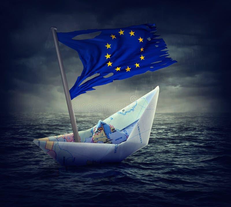 Słabnięcie euro statek z poszarpaną flaga obrazy royalty free