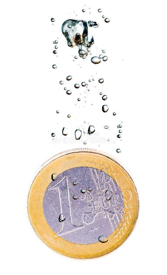 słabnięcie mennicza euro woda obraz stock