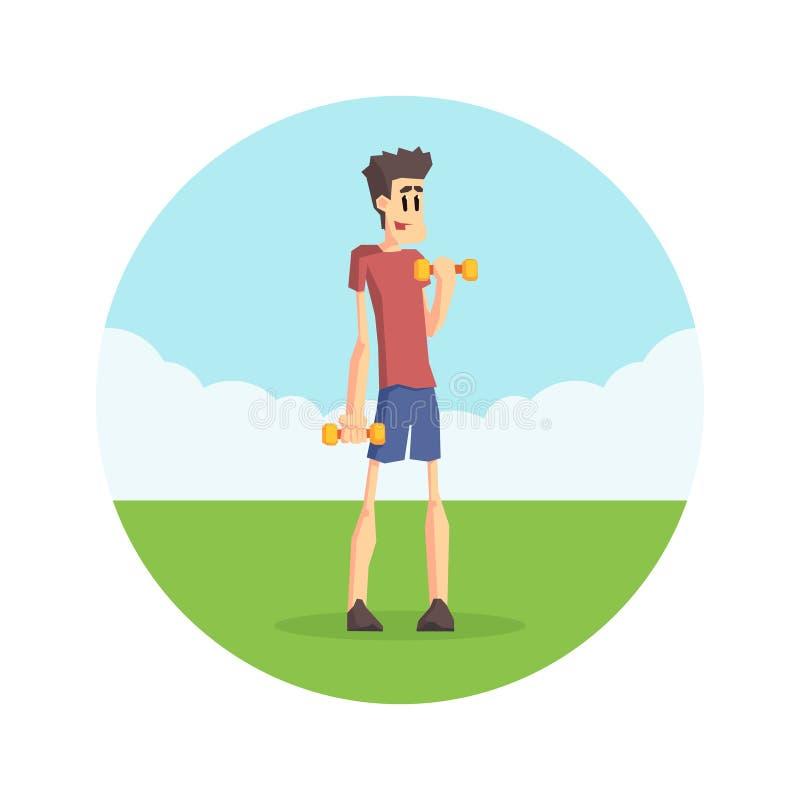 Słaby mężczyzna Ćwiczy z Dumbbells na naturze, Fizyczny treningu szkolenie, Aktywna Zdrowa styl życia wektoru ilustracja ilustracja wektor