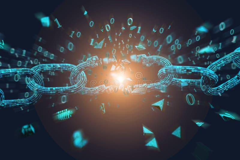 Słaby punkt Łamany blockchain wybucha - 3d odpłacają się ilustracji