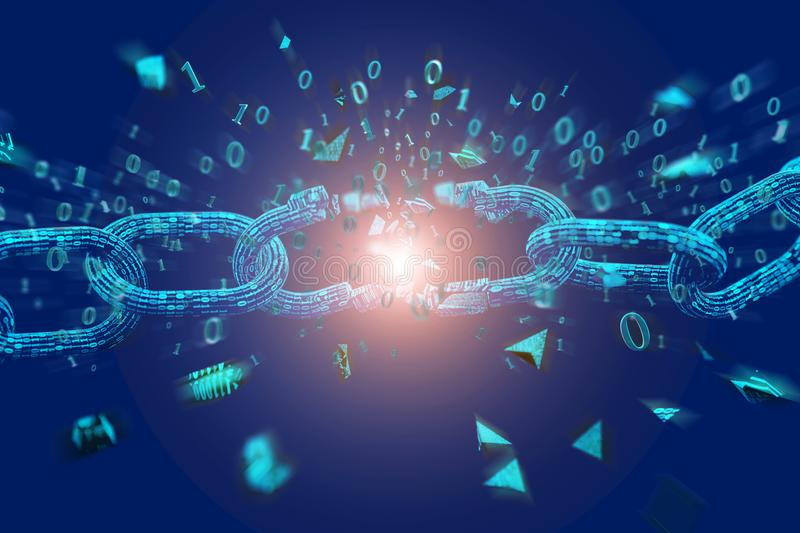 Słaby punkt Łamany blockchain wybucha - 3d odpłacają się ilustracja wektor