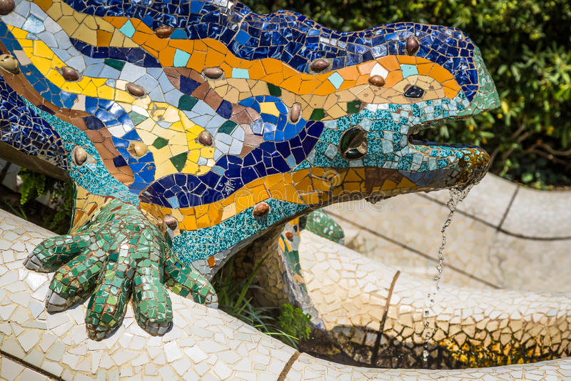 Sławna Gaudi jaszczurka w parkowym Guell, Barcelona, Hiszpania obraz stock