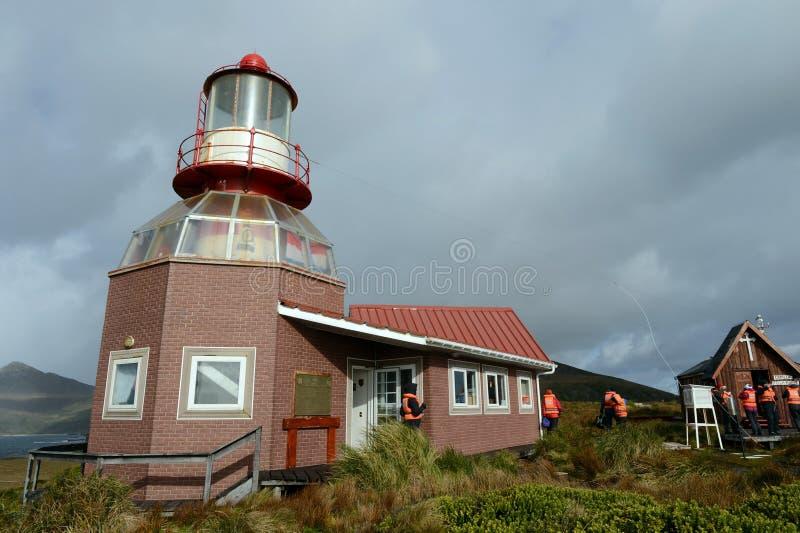 Sławna latarnia morska przy przylądka rogiem - południowy punkt archipelag Tierra Del Fuego obrazy stock