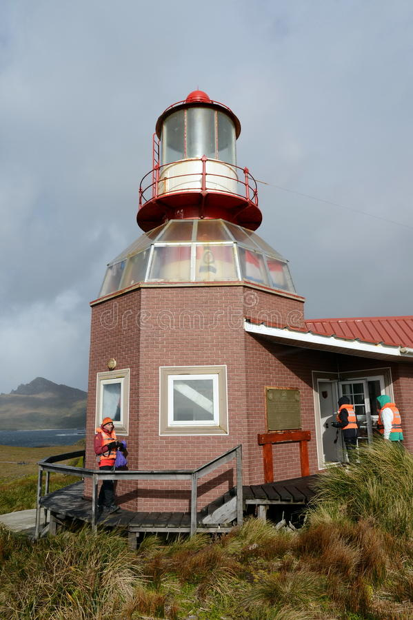 Sławna latarnia morska przy przylądka rogiem - południowy punkt archipelag Tierra Del Fuego, myjący nawadnia Drake fotografia royalty free