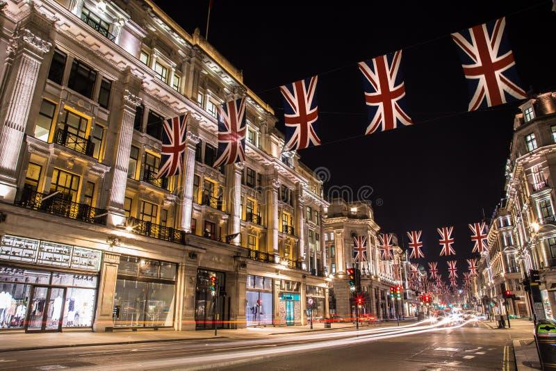 Sławna Londyńska Regent ulica przy nocą Anglia obrazy royalty free