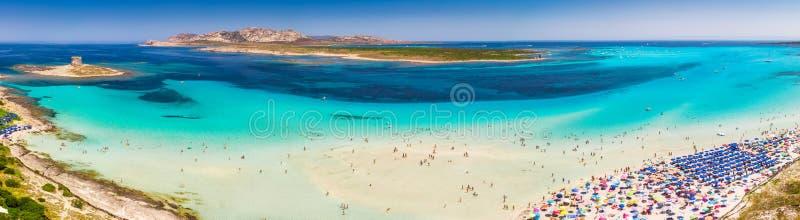 Sławna losu angeles Pelosa plaża na Sardinia wyspie, Sardinia, Włochy fotografia royalty free