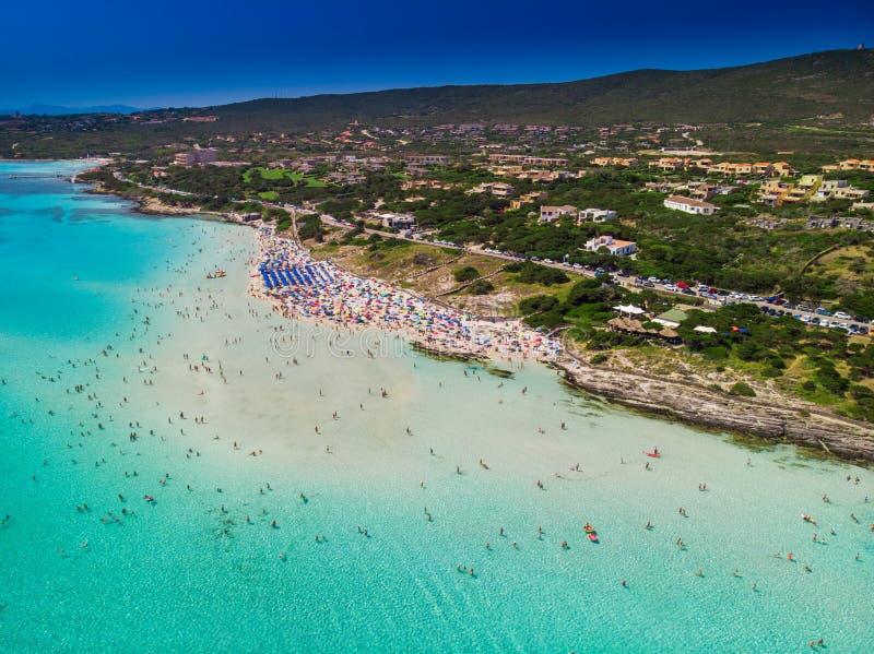 Sławna losu angeles Pelosa plaża z Torre della Pelosa na Sardinia wyspie, Włochy obrazy royalty free