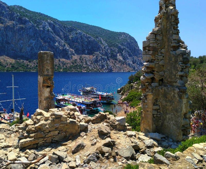 Sławna panorama natura morze egejskie od wzgórza na Kameriye Adas wyspie obrazy stock