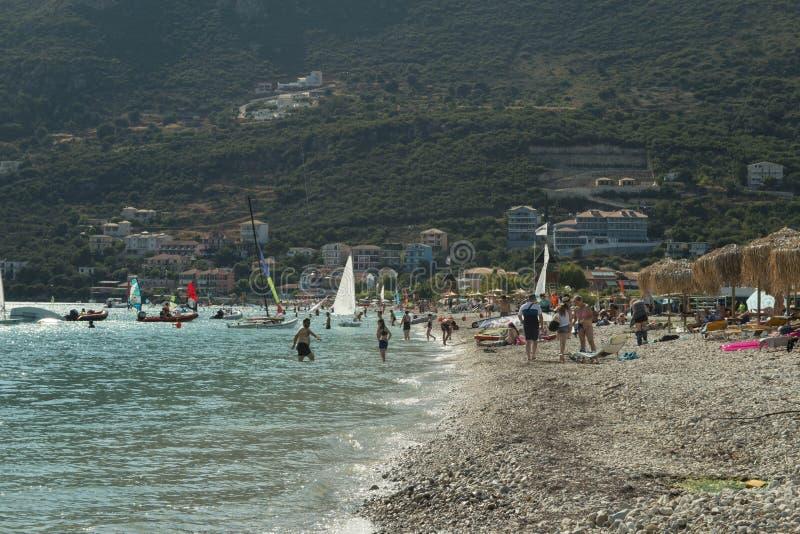 Sławna plaża Z Wiatrowym surfingiem W Greckiej wyspie Lefkada zdjęcia royalty free