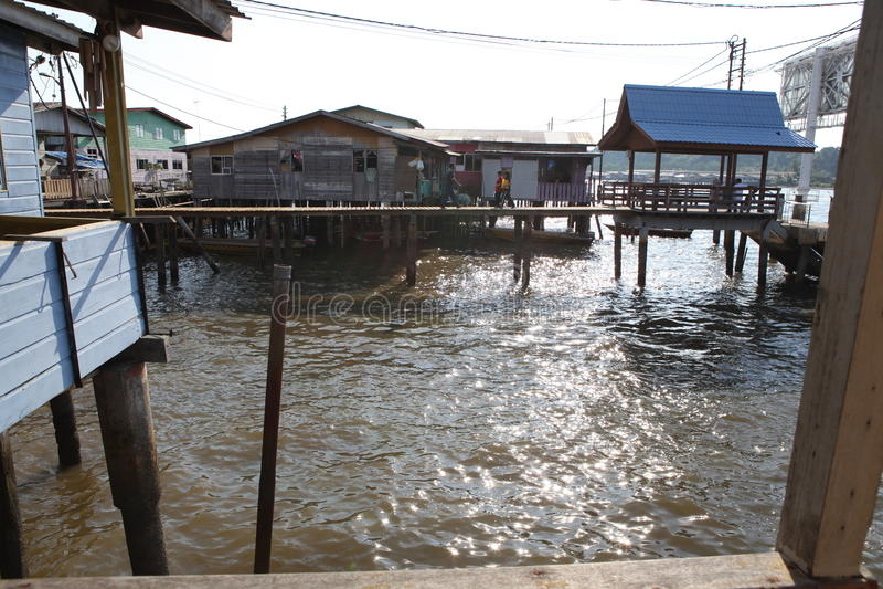 Sławna Wodna wioska w Brunei Borneo fotografia stock