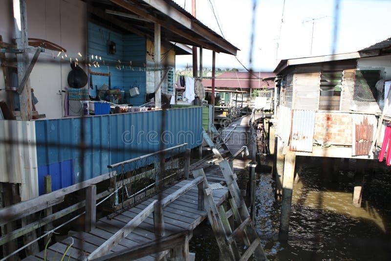 Sławna Wodna wioska w Brunei Borneo obrazy stock