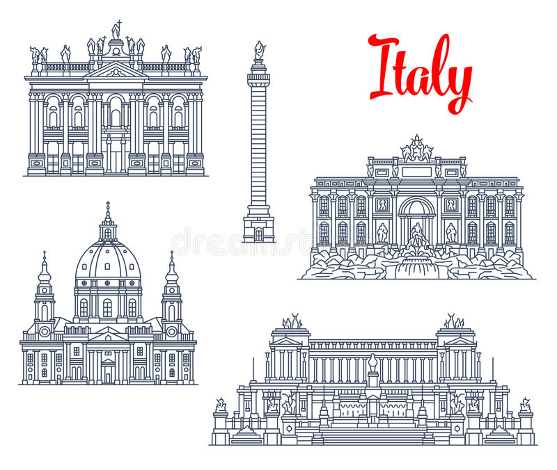 Sławne budynku Włochy architektury wektoru ikony ilustracja wektor