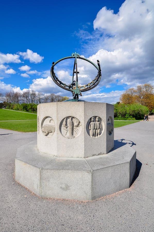 Sławne statuy Vigeland lub Frogner, park w Oslo zdjęcie royalty free