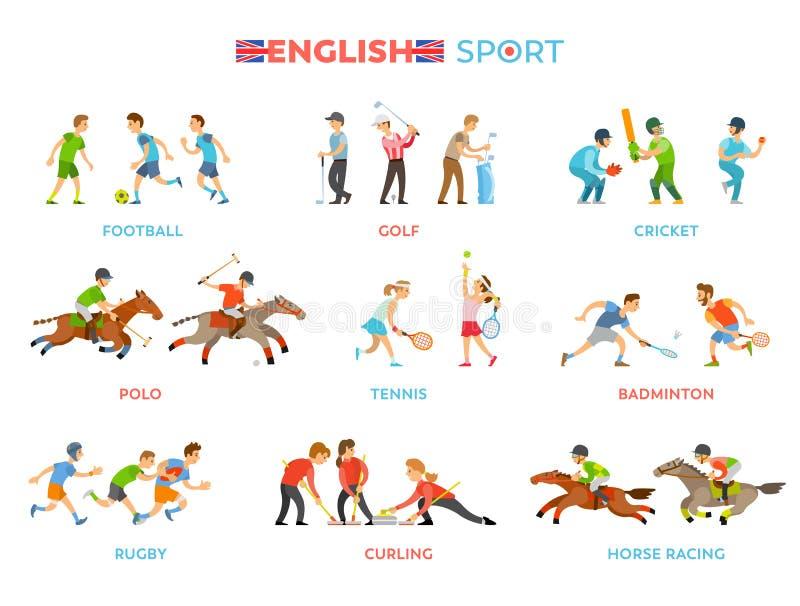 Sławni Angielscy Tradycyjni Krajowi sportów rodzaje ilustracja wektor