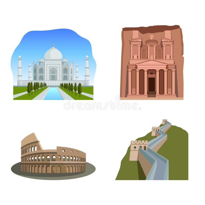 Sławni cudy świat: Taj Mahal, Petra, Colosseum gr