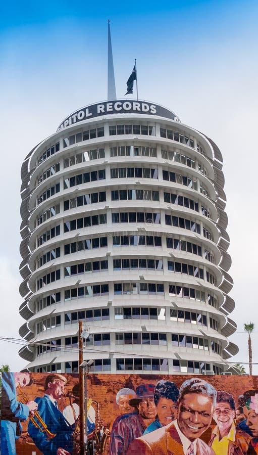 Sławni Hollywood Capitol rejestry obraz stock