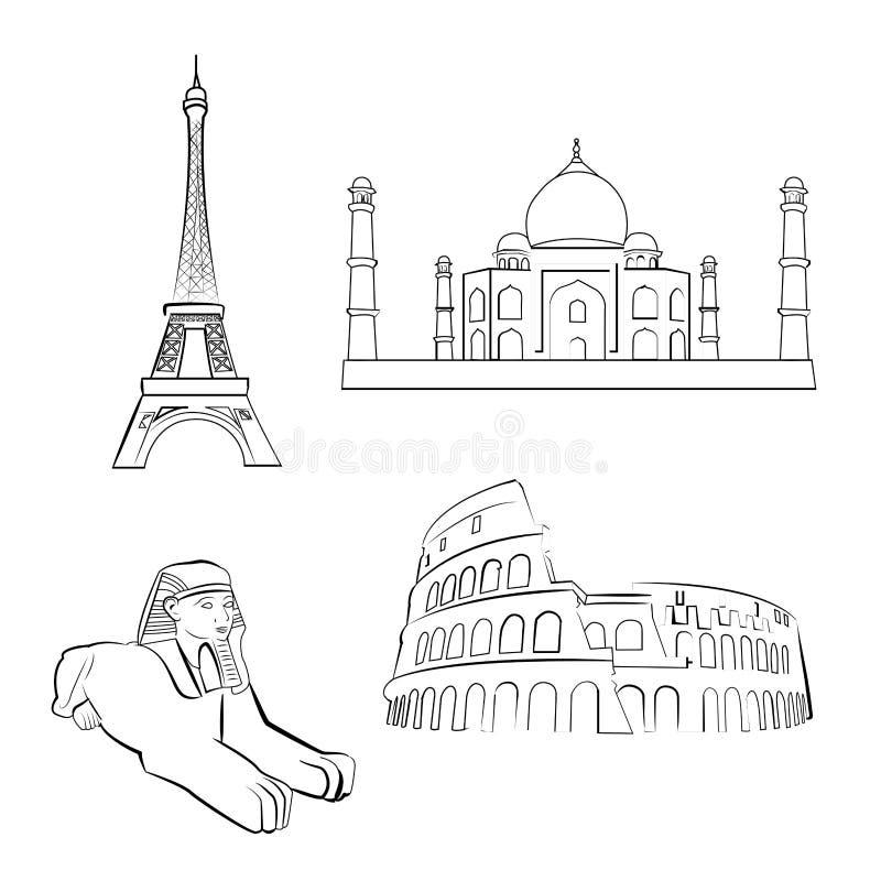 Sławni miejsca royalty ilustracja
