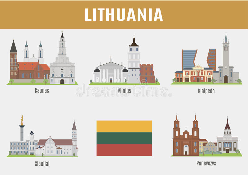 Sławni miejsce litwinu miasta ilustracja wektor