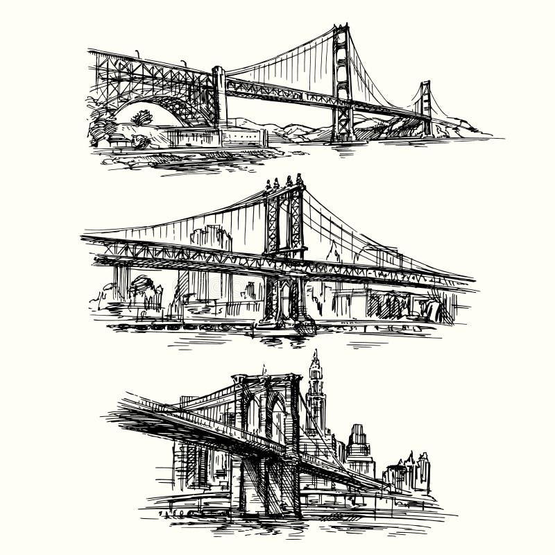 Sławni mosty ilustracja wektor