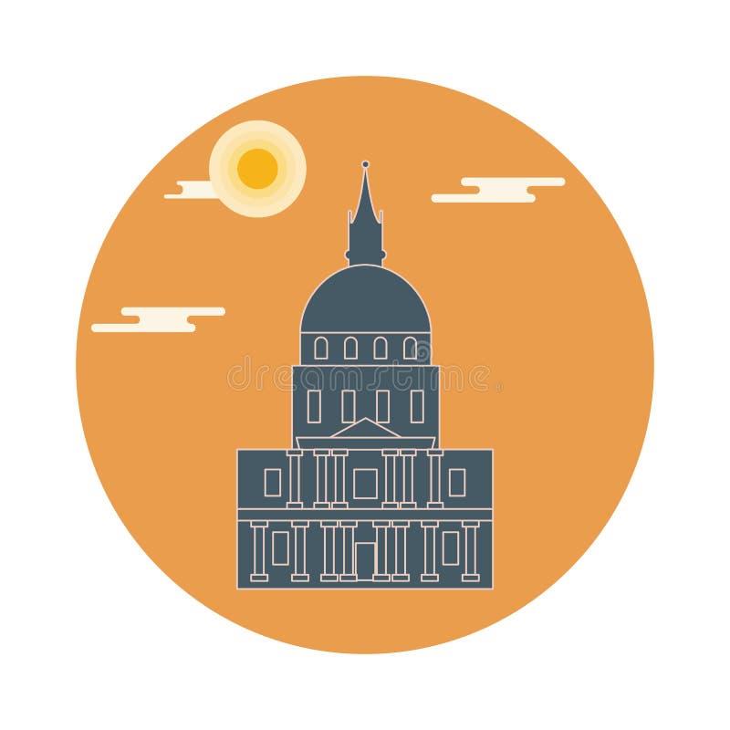 Sławny budynek Paris Symbol i punkt zwrotny ilustracji