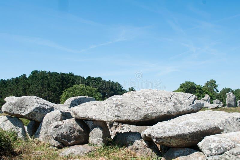 Sławny dolmenu megalit w Carnac, Britany, Francja - zdjęcie stock